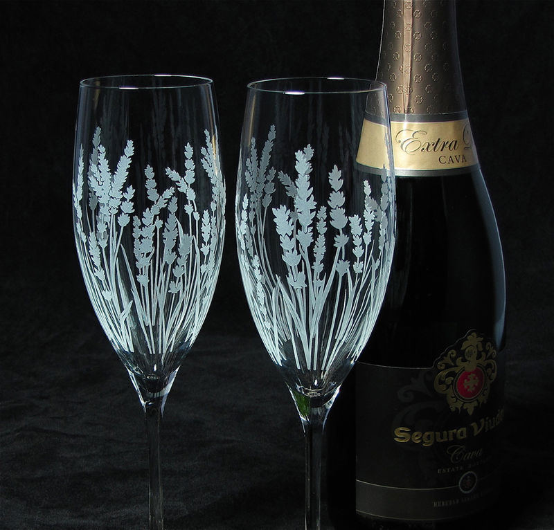 2 Personalized Champagne Glasses, Lavender Wedding Gift for Bride and Groom - product image