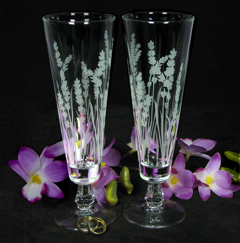 Lavender Wedding Decor, Personalized Toasting Flutes, Etched Glass Gift for Couple - product image