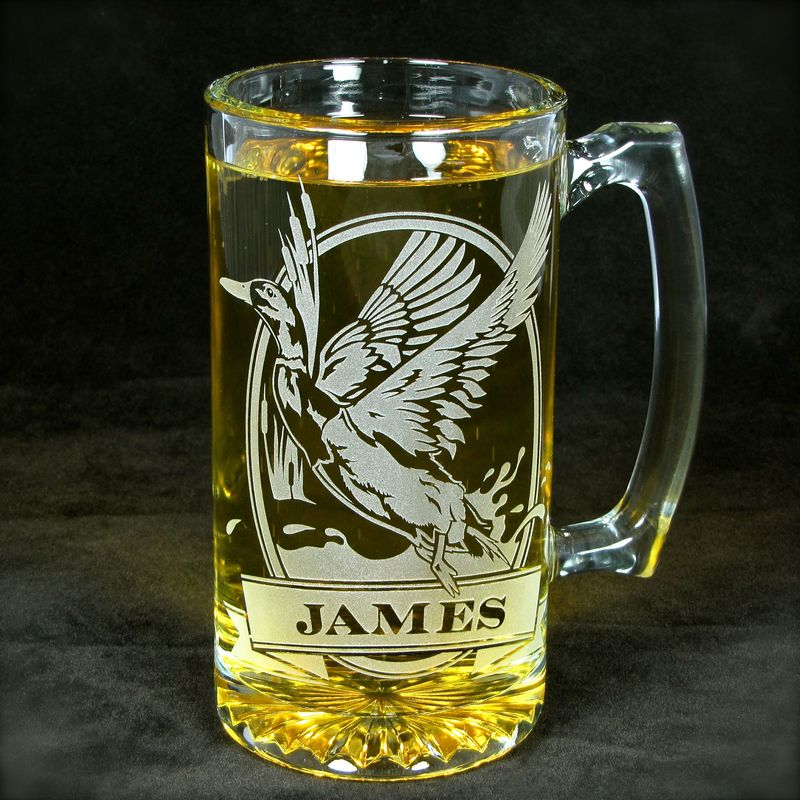 Personalized Elk Beer Stein, Etched Glass, Gift for Groom, Groomsmen - product image