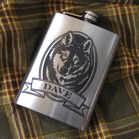Personalized,Wolf,Hip,Flask,,Gift,Idea,for,Man,,Birthday,Present,Men,wolf Personalized Hip Flask with moose, bass, trout, fish Engraved Gift for Man, Gift for Groomsman, gift for man, dad, fathers day