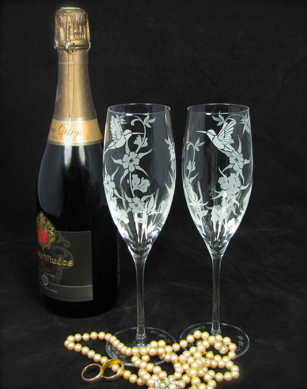 Hummingbird Columbine Champagne Glasses, Wedding Gift for Bride and Groom - product images  of