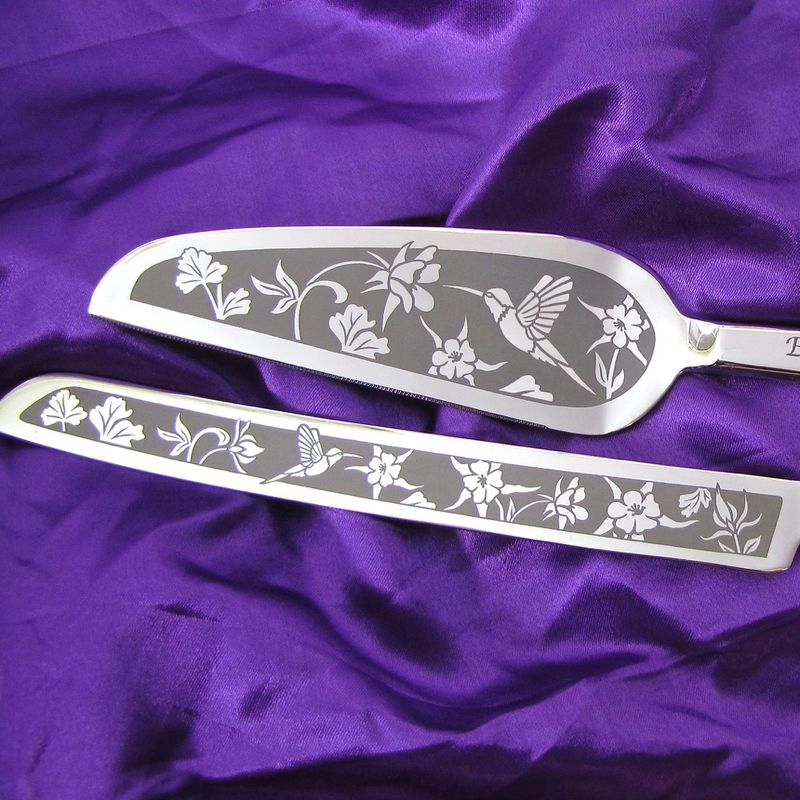 Personalized Hummingbird and Columbine Wedding Cake Server Set  - product image