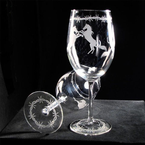 2,Horse,Wine,Glasses,,Etched,Glass,Glasses,with,Horseshoes,,Barbed,Wire,western wedding, cowboy wedding, horse themed wedding, Glass,Glassware,etched_glass,etched_glass_horse,horseshoes,horse,barbed_wire,country western,western_kitch,barbed_wire_glasses,western_wine_glass,western_wine_glasses,lead_free_glass