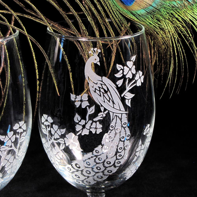 Peacock Wine Glasses, Etched Glass, Peacock Decor, Peacock Wedding - product image
