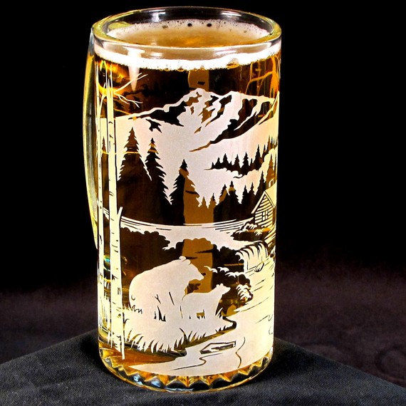 Etched Glass Beer Mug, Bear Mountain, Groomsmen Gifts for Mountain Wedding - product images  of