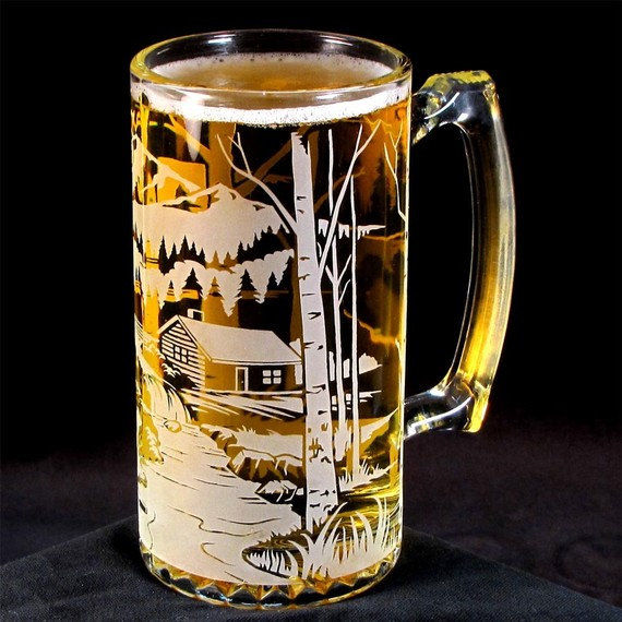 New Etched Glass Beer Mug, Bear Mountain, Groomsmen Gifts for Mountain  SS27