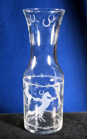 Wine,Carafe,,Etched,Glass,Cowboy,Carafe,with,Horses,&,Horseshoes,cowboy, horses, horseshoes, cowboy wedding, western wedding, Housewares,Serving,Pitcher,carafe,wine_carafe,etched_glass,etched_glass_carafe,etched_glass_horse,horseshoes,horse,barbed_wire,western_kitch,horse_carafe,sand_etched,lead_free_glass