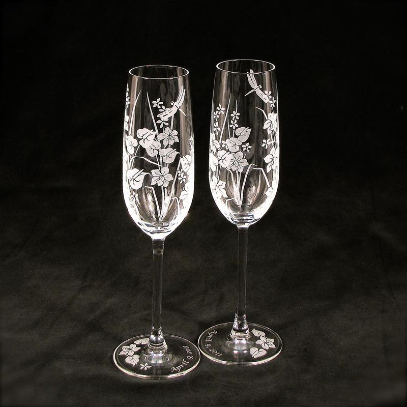 2 Tropical Flowers with Dragonfly Toasting Champagne Flutes - product image