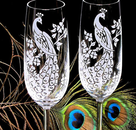 Peacock,Champagne,Glasses,,Engraved,Flutes,peacock wedding, Glass,Glassware,Champagne_Flute,crystal,etched,peacock,flute,toasting_flutes,champagne_flutes,champagne_glasses,wedding,wedding_peacock,engraved,engraved_wedding,peacock_decorations,sand_etched_clear_crystal_champagne_flutes