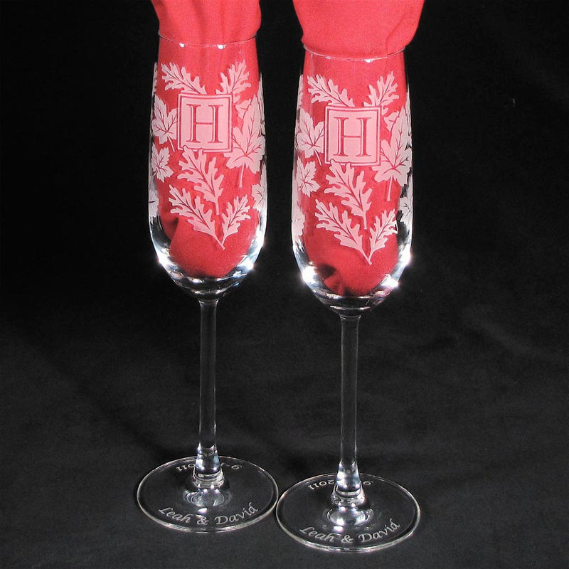 Woodland Wedding Champagne Glasses, Cake Server Set, Fall Wedding, Personalized  - product images  of