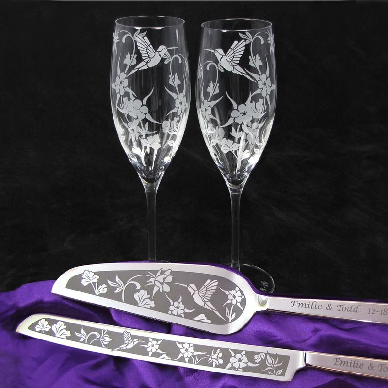 Personalized Hummingbird Wildflower Themed Wedding Cake Server and Champagne Flute Set - product images  of