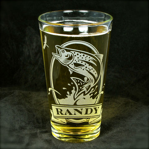 1,Personalized,Trout,Beer,Glass,,Etched,Glass,Pint,Birthday,Present, catfish, Bass, Bluegill, Fisherman, angler, fly fisherman, beer glass, personalized, pint glass, etched glass, engraved gift, gift for man, gift for husband, boyfriend, father, dad