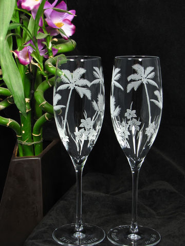 2,Toasting,Flutes,with,Palm,Trees,for,Beach,or,Tropical,wedding,Palm Trees, Etched Glass, Brad Goodell, bradgoodell, the wedding gallery, Weddings,Decoration,glass,personalized,engraved,toasting_flutes,champagne_flutes,champagne_glasses,wedding_flutes,beach_wedding,engraved_wedding,personalized_wedding,tropical_weddin