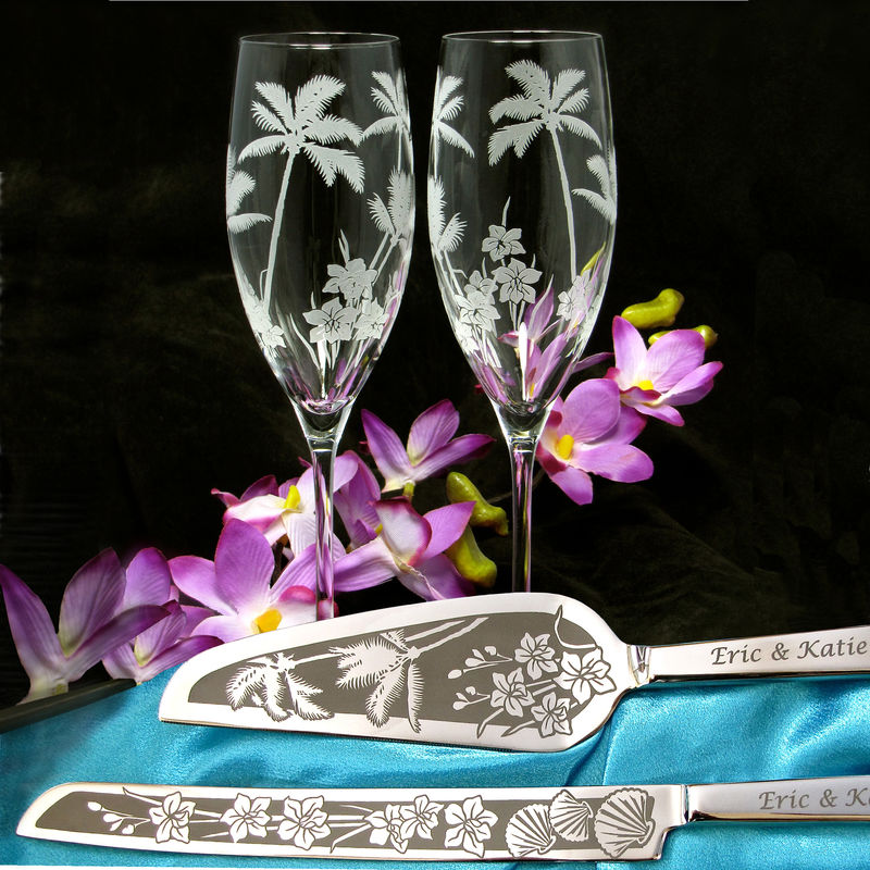 Personalized Palm Tree Wedding Set, Champagne Flutes and Cake Server and Knife Beach Wedding - product images  of