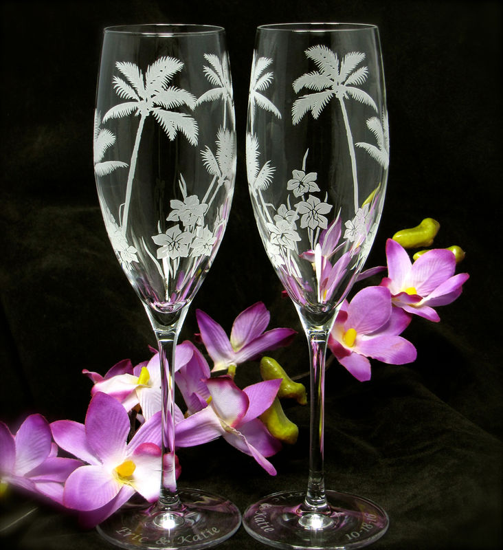 2 Toasting Flutes with Palm Trees for Beach or Tropical wedding - product images  of