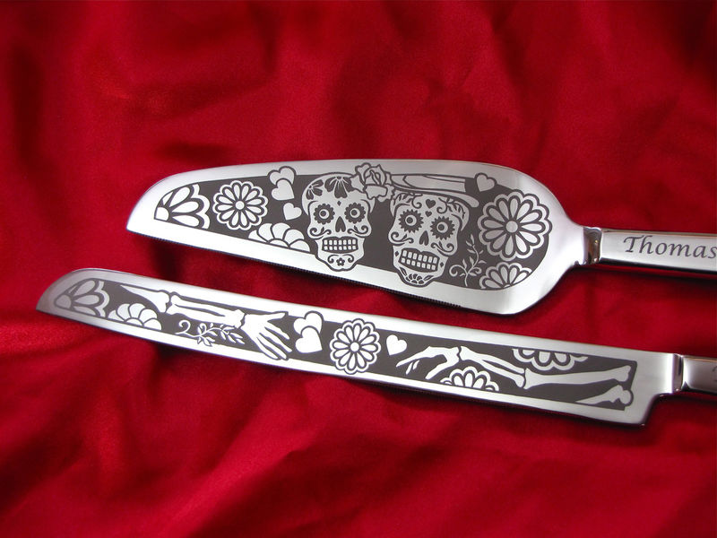 Day of the Dead Wedding Cake Server and Knife Set, Personalized Sugar Skull Gift  - product image