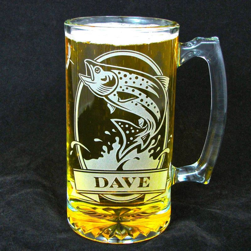 2 Personalized Fish Beer Steins, Etched Glass Trout and Bass, Gift for Anglers / Fisherman - product images  of