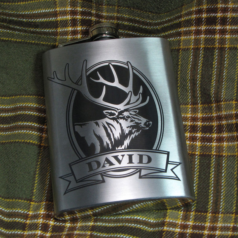Personalized Wolf Hip Flask, Gift Idea for Man, Birthday Present for Men - product image