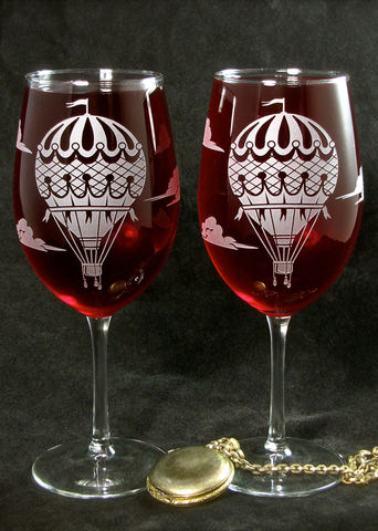 Hot,Air,Balloon,Wine,Glasses,,Personalized,Gift,Hot Air Balloon, Vintage style, Wine glasses, personalized, Wedding Decor, Etched glass, wine glasses,  Wine Glasses, wedding