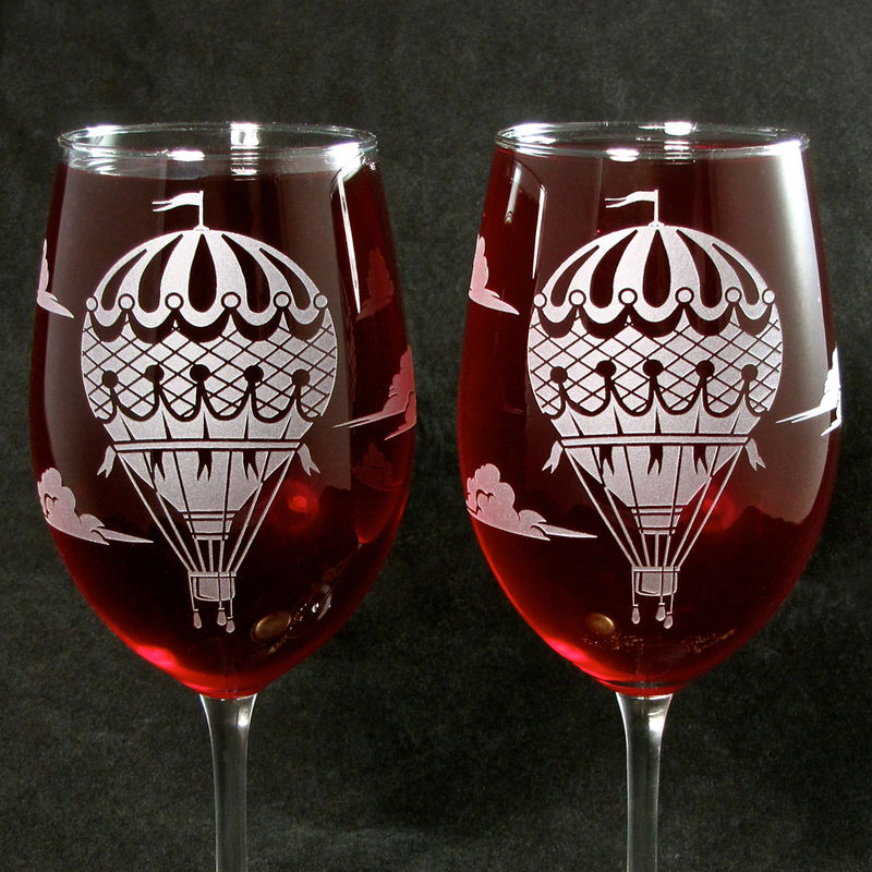 Hot Air Balloon Wine Glasses, Personalized Gift  - product image