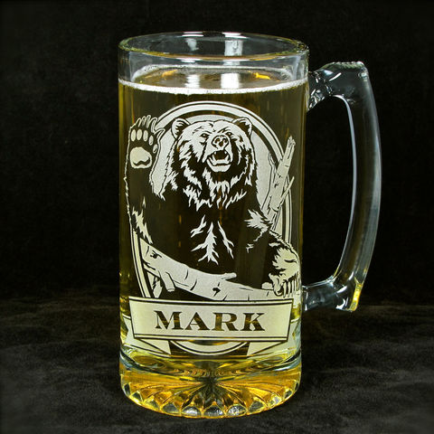 Personalized,Grizzly,Bear,Beer,Mug,,Engraved,Glass,Present,for,Outdoorsman,Grizzly bear, personalized gifts, Personalized Beer stein, beer mug, etched glass, gift for groomsmen, groomsmen gift, beer glass