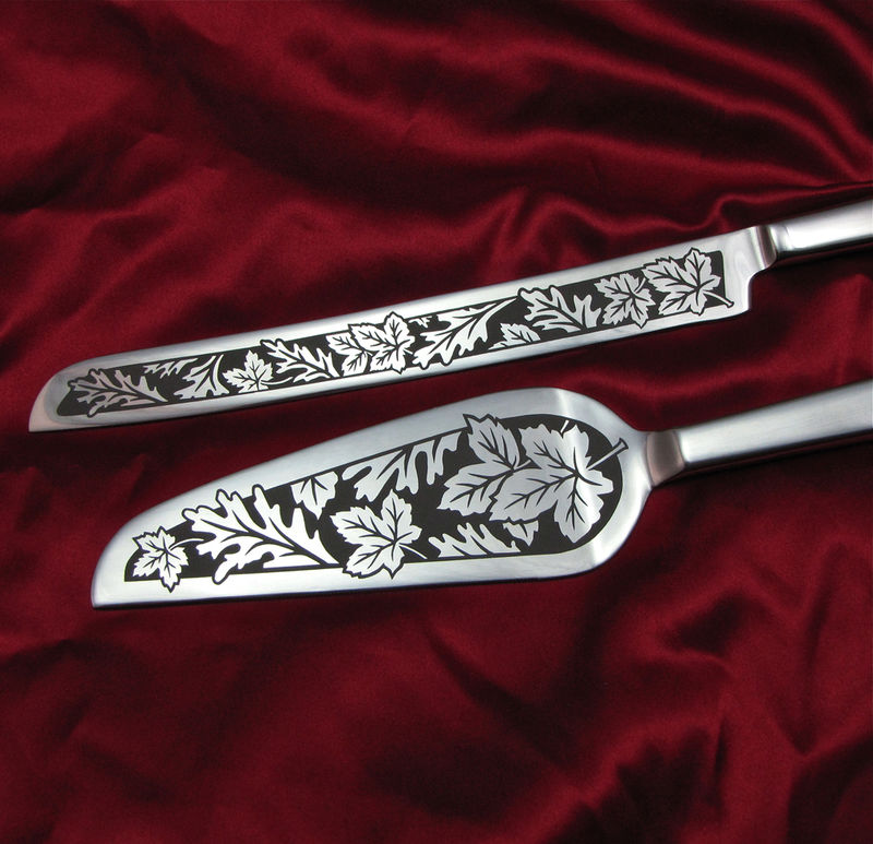 Engraved Autumn Wedding Cake Server and Knife Set - product images  of