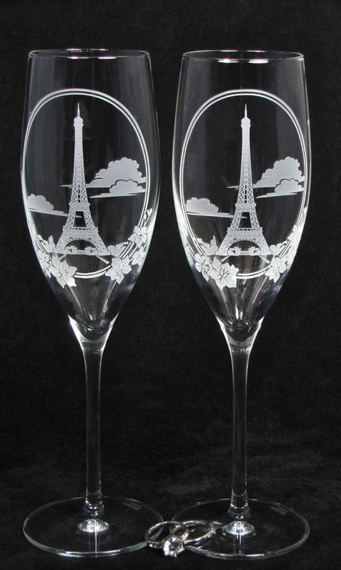 2 Eiffel Tower Toasting Flutes, Personalized Champagne Glasses, Paris Travel Themed Wedding - product images  of