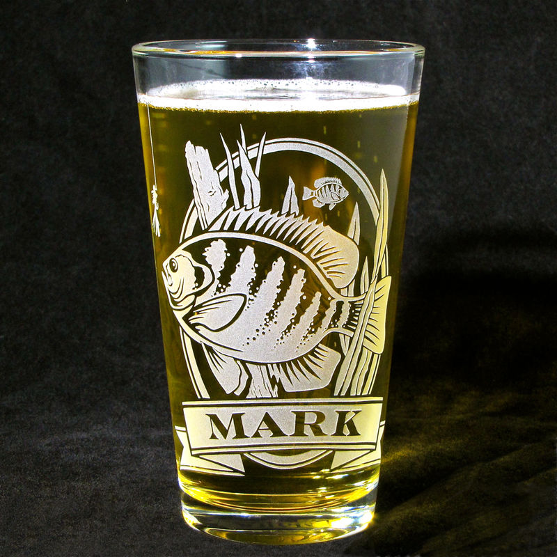 1 Personalized Beer Glass with Bass, Etched Glass Pint Glass Present for Man - product images  of