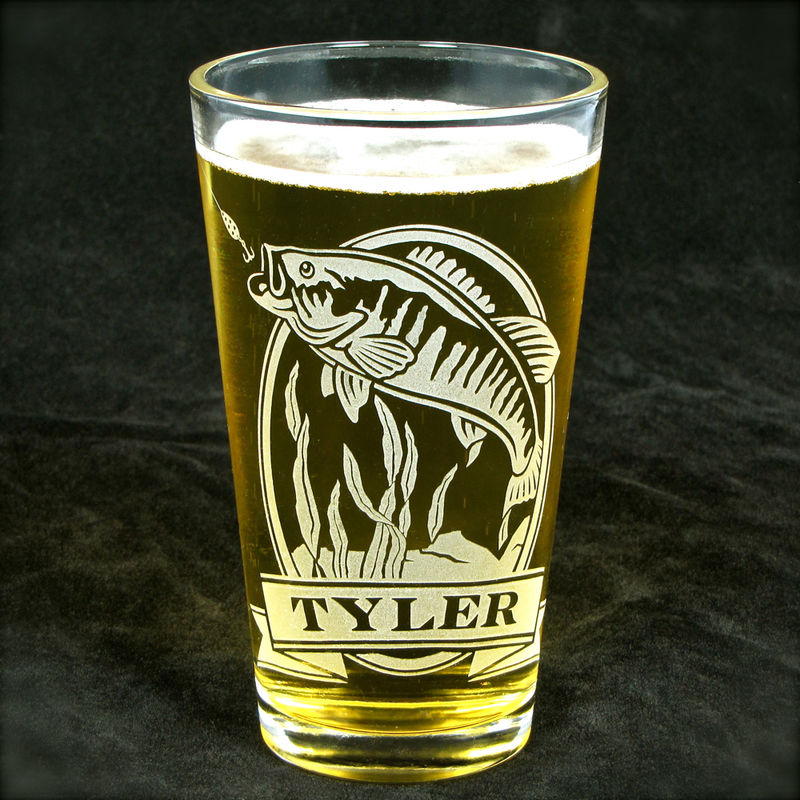 1 Personalized Pint Glass with Bluegill, Etched Glass Beer Glass Gift for Man - product image