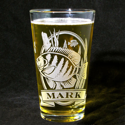 1,Personalized,Pint,Glass,with,Bluegill,,Etched,Beer,Gift,for,Man,Bluegill, fish, angler, beer glass, personalized, pint glass, etched glass, engraved gift, gift for man, gift for husband, boyfriend, father, dad