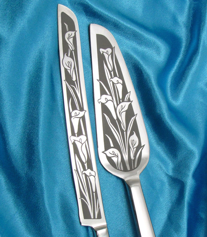 Calla Lily Wedding Cake Server and Knife Set, Floral Themed Wedding - product images  of
