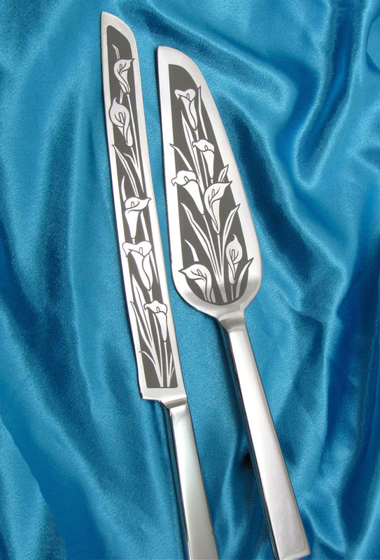 Calla Lily Wedding Cake Server and Knife Set, Floral Themed Wedding - product image