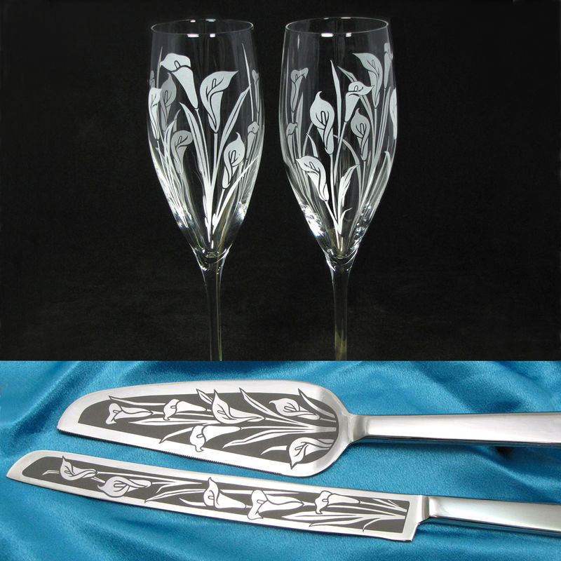 Calla Lily Wedding Set, Champagne Glasses, Cake Server and Knife, Personalized - product images  of