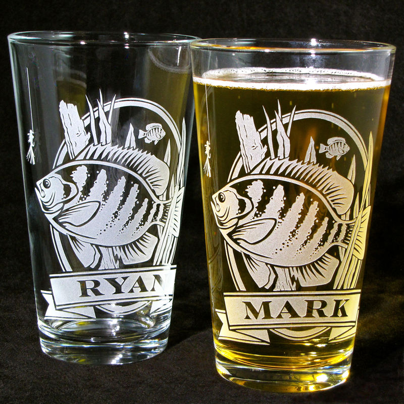 2 Personalized Bluegill Beer Glasses, Etched Glass Gifts for Fisherman - product image