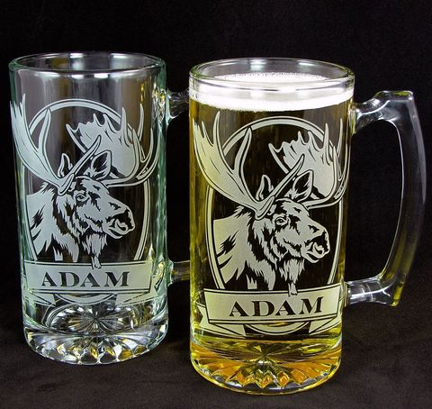 2,Personalized,Moose,Beer,Mugs,,Etched,Glass,Wildlife,Gift,for,Outdoorsmen,personalized gifts, Personalized Beer stein, beer mug, catfish, trout, fish, smallmouth bass, etched glass, gift for groomsmen, groomsmen gift, beer glass