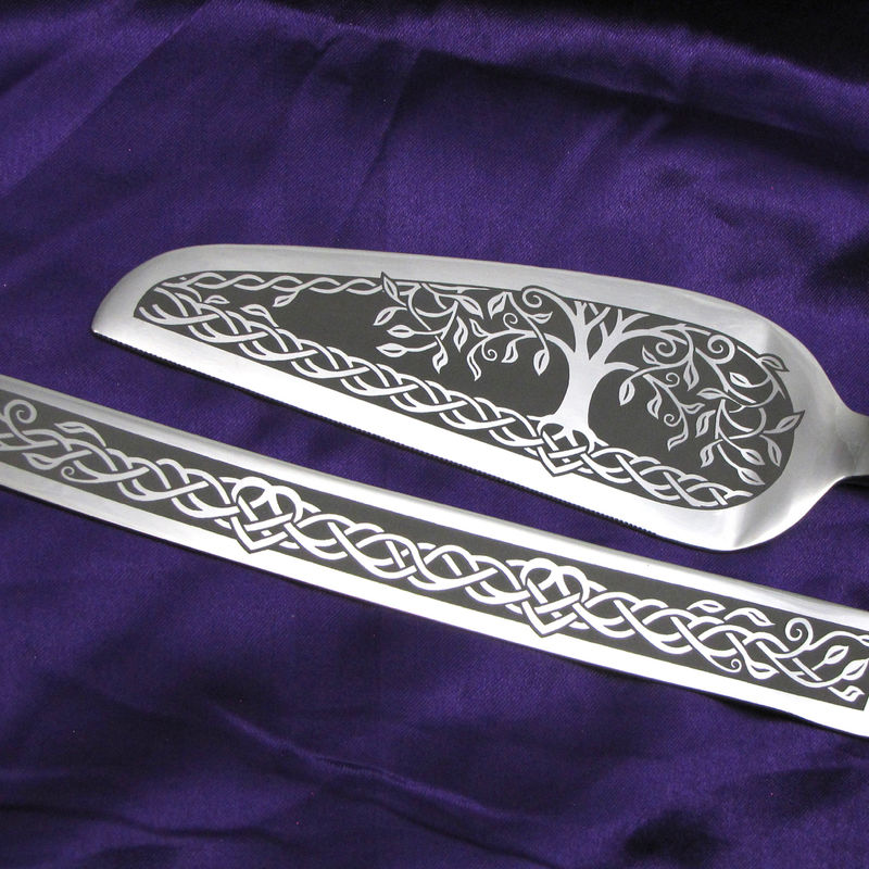 Personalized Celtic Tree of Life Wedding Cake Server and Knife Set  - product image
