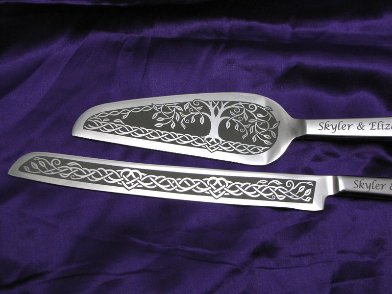 personalized celtic tree of life wedding cake server and knife set the wedding gallery by brad. Black Bedroom Furniture Sets. Home Design Ideas