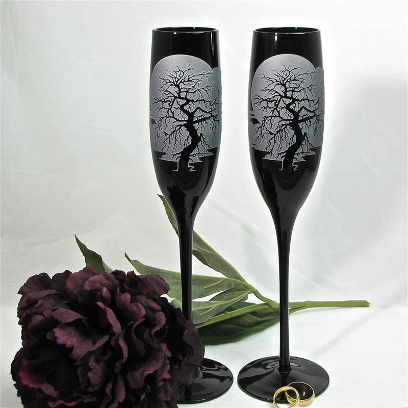Black Champagne Flutes, Wedding Glasses With Spooky Gothic Enchanted Forest Tree - product image