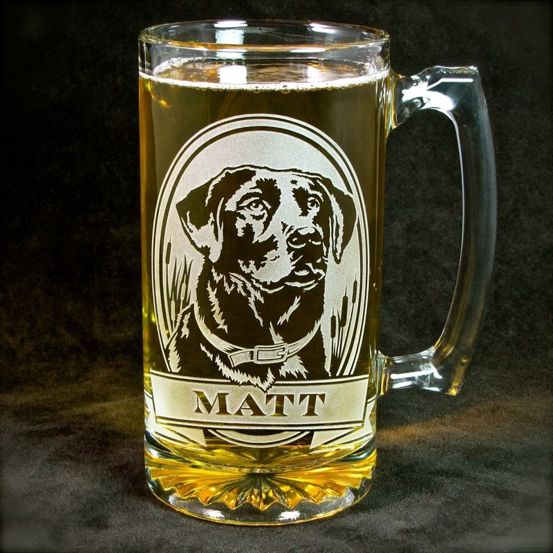 1 Personalized Labrador Retriever Beer Mug, Etched Glass Beer Stein for Dog Lovers - product image