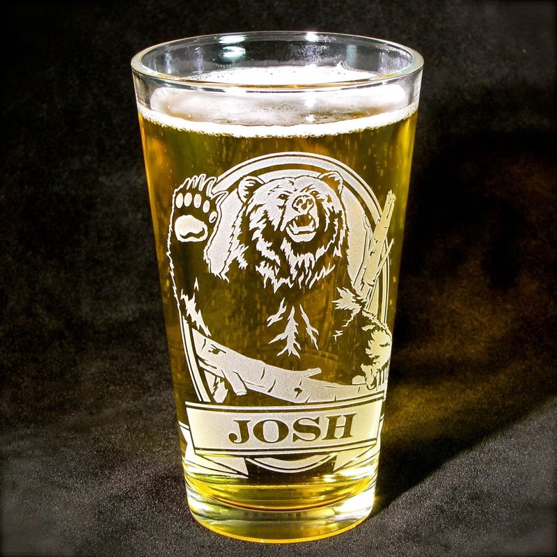 1 Personalized Beer Glass with Grizzly Bear, Etched Glass Pint Glass Gift for Dad - product image