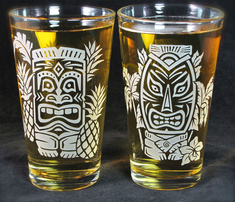 2 Tiki Drinking Glasses, Hawaiian Style Pint Glasses, Etched Glass Beer Glass - product images
