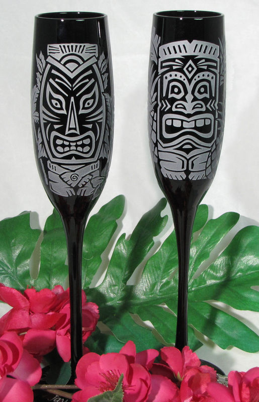 Black Champagne Flutes, Hawaiian Tiki Wedding Toasting Glasses - product images  of