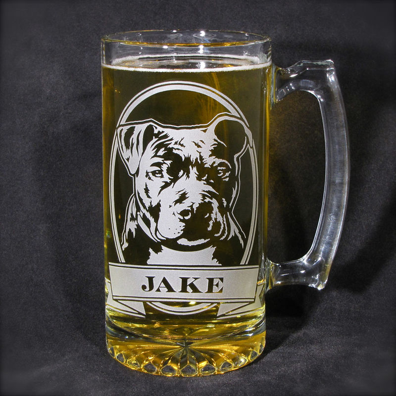 1 Personalized Boxer Beer Mug, Etched Glass Beer Stein with Dog - product image