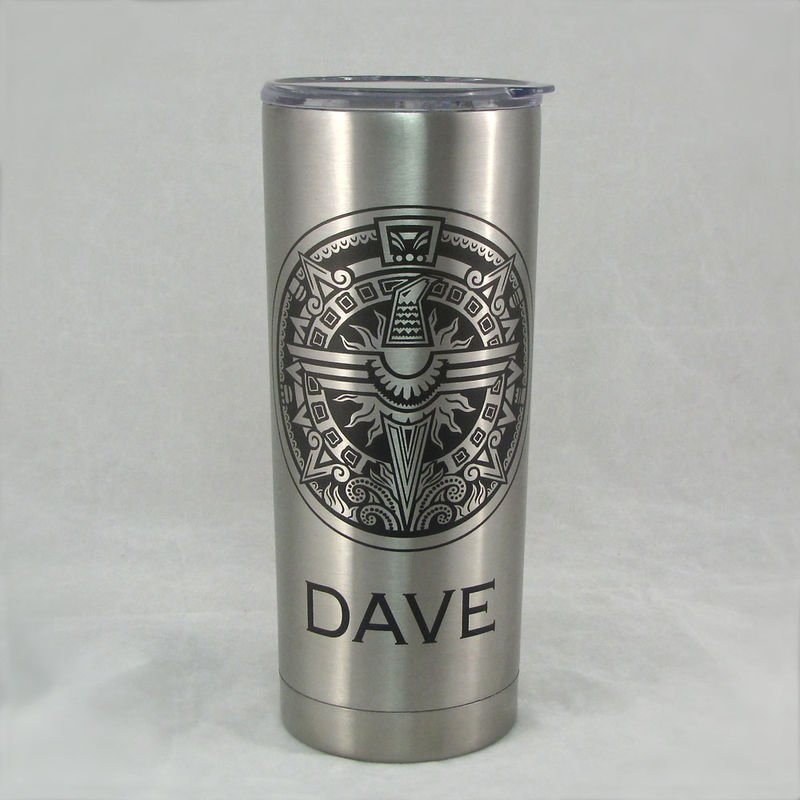 2 Personalized Insulated Cups, Stainless Steel Hot / Cold Tumblers, Gift for Couple - product image