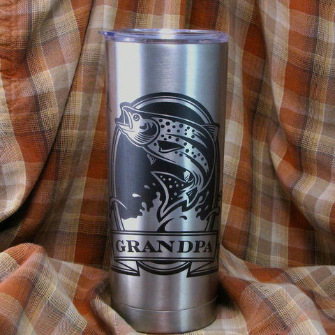 1,Personalized,Insulated,Cup,,Trout,Fish,,Stainless,Steel,Hot,/,Cold,Tumbler,Personalized Insulated Cup, Trout, Fish, Angler, Fly Fisherman, Stainless Steel Hot / Cold Tumbler, Christmas Gift, Birthday Gift