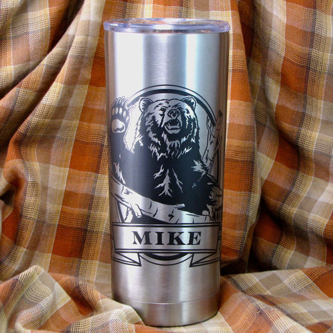 1,Personalized,Insulated,Cup,,Grizzly,Bear,Gift,,Brown,Kodiak,,Stainless,Steel,Hot,/,Cold,Tumbler,Grizzly Bear, Brown Bear, Kodiak, Bass Fishing Personalized Insulated Cup, Trout, Fish, Angler, Fly Fisherman, Stainless Steel Hot / Cold Tumbler, Christmas Gift, Birthday Gift