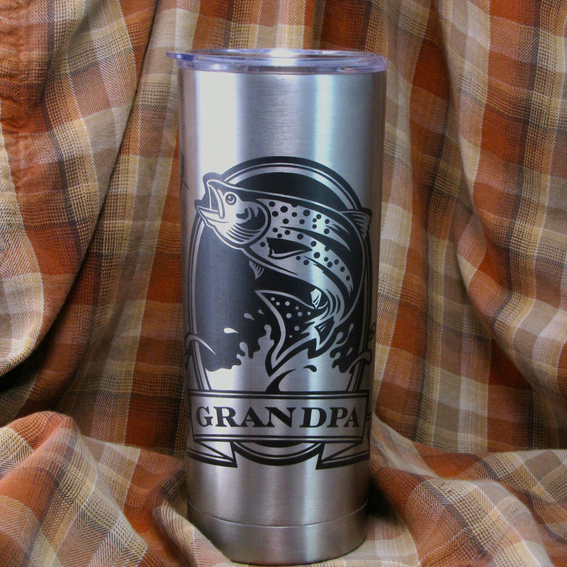 1 Personalized Insulated Cup, Grizzly Bear Gift, Brown Bear Kodiak, Stainless Steel Hot / Cold Tumbler - product images  of