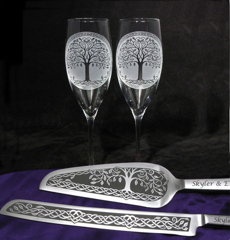 Celtic,Tree,of,Life,Wedding,Cake,Server,and,Champagne,Flutes,,Woodsy,Bohemian,Celtic Tree of life, wedding cake knife and flute set, Personalized,  Champagne Flutes, champagne glasses, wedding cake server set, celtic knot, celtic heart, irish wedding