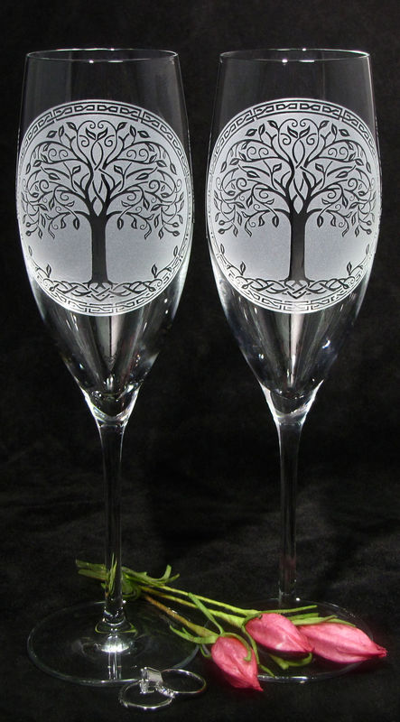 Celtic Tree of Life Wedding Cake Server and Champagne Flutes, Woodsy Bohemian Wedding - product image