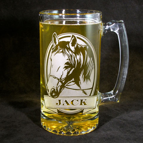 1,Personalized,Horse,Beer,Mug,,Equestrian,Stein,,Lover,Horse Lover, equestrian, personalized gifts, Personalized Beer stein, beer mug, etched glass, gift for groomsmen, groomsmen gift, beer glass, boxer dog